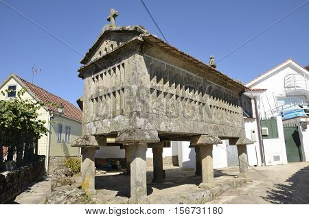 Horreo a typical granary in Combarro a village of the province of Pontevedra in the Galicia region of Spain.