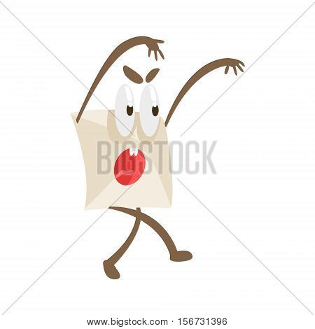 Intimidating Humanized Letter Paper Envelop Cartoon Character Emoji Illustration. Part Of Mail Cover Funny Character With Arms And Legs Emotional Facial Expression Vector Collection