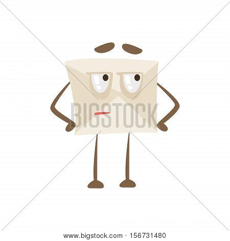 Suspicious Humanized Letter Paper Envelop Cartoon Character Emoji Illustration. Part Of Mail Cover Funny Character With Arms And Legs Emotional Facial Expression Vector Collection