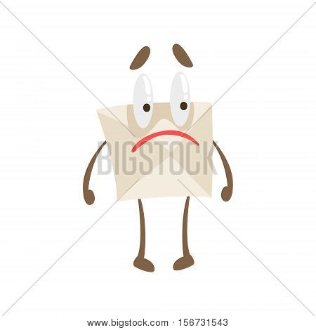 Disappointed Humanized Letter Paper Envelop Cartoon Character Emoji Illustration. Part Of Mail Cover Funny Character With Arms And Legs Emotional Facial Expression Vector Collection