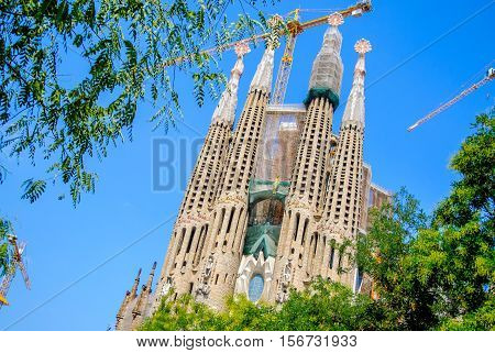 Sagrada Familia under construction, iconic and beautiful fairy tale Cathedral in Barcelona.