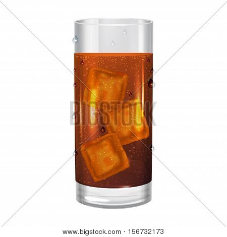 Glass of cola with ice cubes drink soda. Vector illustration