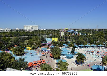 Aquatica water park Orlando Florida USA - October 23 2016: An aerial view of Aquatica theme park in Orlando