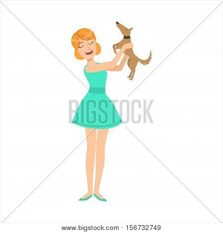Pretty Girl In Blue Dress Playing With Her Smal Brown Pet Dog, Part Of Women Different Lifestyles Collection. Smiling Woman Enjoying Her Every Day Life Colorful Cartoon Vector Illustration.