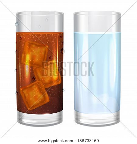 Two glasses of water and cola soda. Vector illustration