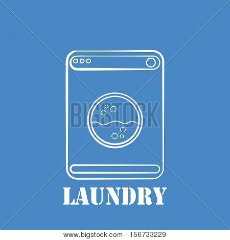Laundry label. Washing machine icon. Vector illustration.