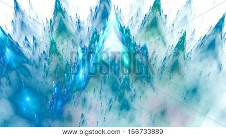 Colored crystals under microscope. Sharp peaks mountains. 3D surreal illustration. Sacred geometry. Mysterious psychedelic relaxation pattern. Fractal abstract texture. Digital artwork graphic magic