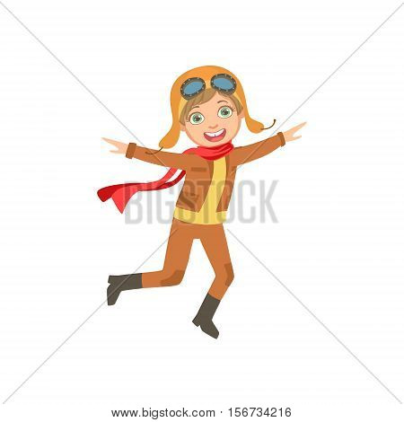 Little Boy In Vintage Pilot Leather Outfit Playing Piloting The Plane Game Imagining His Arms Are Wings. Young Kid Dreaming About Flying The Military Fighter Aircraft Illustration.