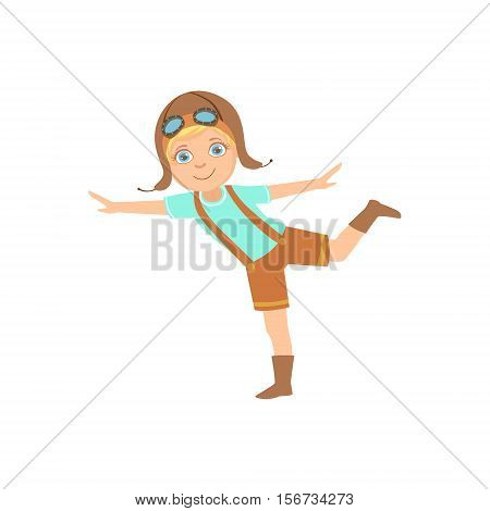Little Boy In Vintage Pilot Leather Outfit Standing On One Leg Playing Piloting The Plane Game Imagining His Arms Are Wings. Young Kid Dreaming About Flying The Military Fighter Aircraft Illustration.
