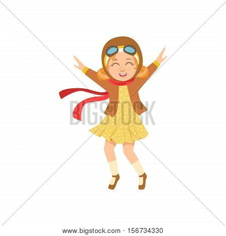 Little Girl In Vintage Pilot Leather Outfit Playing Piloting The Plane Game Imagining Her Arms Are Wings. Young Kid Dreaming About Flying The Military Fighter Aircraft Illustration.