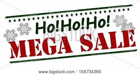 Rubber stamp with text mega sale inside vector illustration