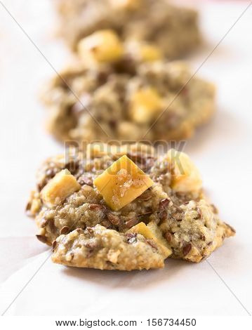 Freshly baked apple oatmeal and linseed cookies on baking paper photographed with natural light (Selective Focus Focus in the middle of the first cookie)