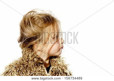Disheveled Preschooler Girl With Long Hair Dressed In Fur Coat