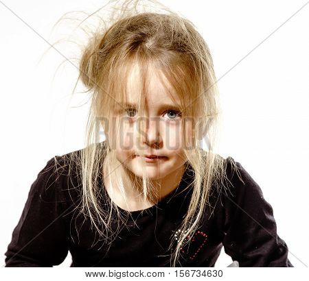 Disheveled Preschooler Girl With Long Hair Portrait