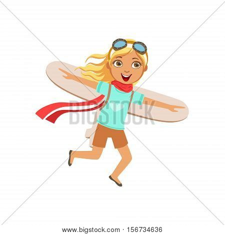 Little Girl In Vintage Pilot Leather Outfit Playing Piloting The Plane Game With Cardboard Wings. Young Kid Dreaming About Flying The Military Fighter Aircraft Illustration.