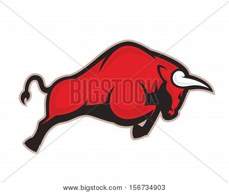 Clipart picture of a charging bull cartoon mascot logo character