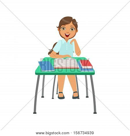 Schoolgirl Sitting Behind The Desk In School Class Very Interested Illustration, Part Of Scholars Studying Vector Collection.. Happy Teenage Student In Uniform Having Good Time At Studies.