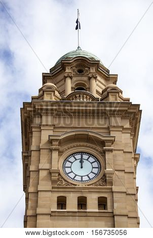 The time stopped at noon in Hobart city clock tower (Tasmania).