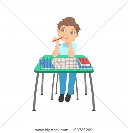 Schoolboy Sitting Behind The Desk In School Thinking About Something Chewing The Pencil Illustration, Part Of Scholars Studying Vector Collection. Happy Teenage Student In Uniform Having Good Time At Studies.