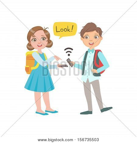 Schoolkids Boy And Girl Chatting And Exchanging Information From Their Smartphones During School Break, Part Of Scholars Studying Vector Collection. Happy Teenage Student In Uniform Having Good Time At Studies.