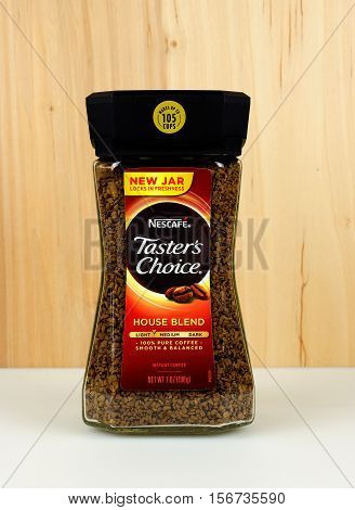 RIVER FALLS,WISCONSIN-NOVEMBER 15,2016: A jar of Taster's Choice instant coffee. Taster's Choice is a product of Nescafe.