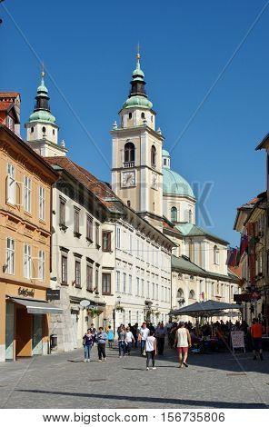 Ljubljana Slovenia - September 25 2016: City center Square, Cyril and Methodius church.