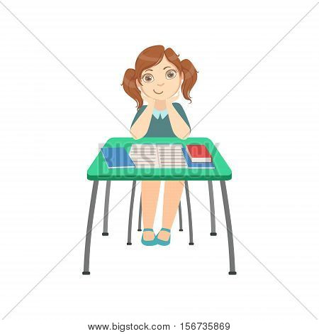 Schoolgirl Sitting Behind The Desk In School Class Resting Her Head On Her Hands Illustration, Part Of Scholars Studying Vector Collection. Happy Teenage Student In Uniform Having Good Time At Studies.