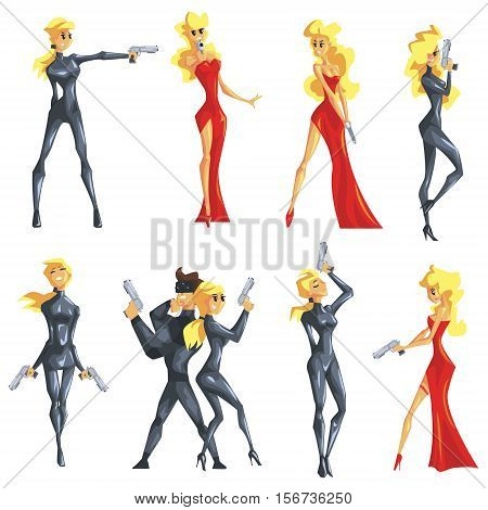 Secret Service Female Agent Undercover. Sexy Blond Woman Professional Asset In Red Fancy Dress And On Duty. Cartoon Hero Crime Fighter Character Colorful Vector Illustration Collection.