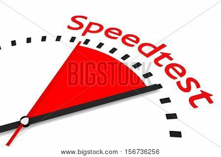 clock red area speedtest timer 3D Illustration
