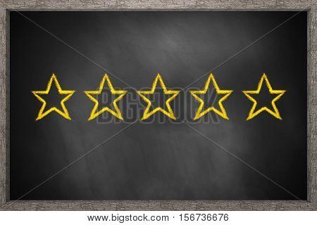 five gold stars on black chalkboard 3D Illustration
