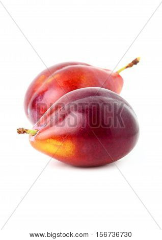 Fresh plum isolated on a white background.