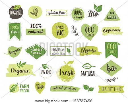 Bio, Ecology, Organic logos and icons, labels, tags. Hand drawn bio healthy food badges, set of raw, vegan, healthy food signs, organic and elements set