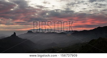 Roque Nublo Sunset Gran Canaria looking out to Tenerife in the Canary Isles