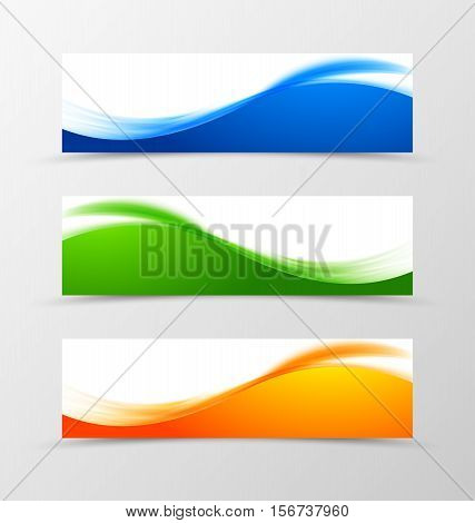 Set of header banner wavy design with blue, green and orange lines in bright soft style. Vector illustration