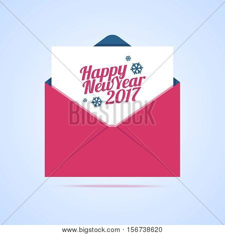 Happy New Year 2017 email illustration. Vector envelope icon with new year congratulation letter in flat style.