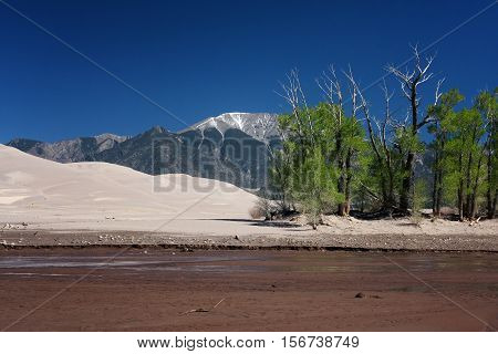 The shallow waters of the Medano Creek flow through the sands of the Great Sand Dunes National Park near Alamosa, Colorado in springtime.