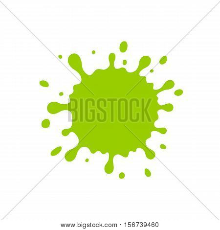Green blob. Vector Illustration with Cute Cartoon Color Paint Splashes, Splatters, Splodges, Blots. Flat style.