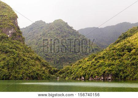 Ha Long Bay Green Island Halong Mountains Vietnam.