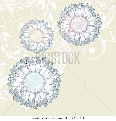 Beautiful abstract  hand drawn floral pattern with gerbera flowers. Vector illustration. Element for design.