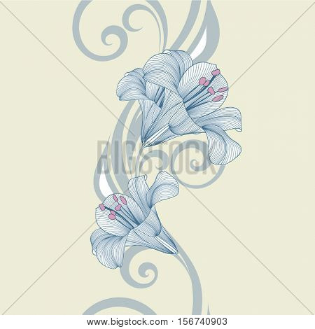Seamless floral pattern with flower lily. Element for design. Hand-drawing vector illustration.