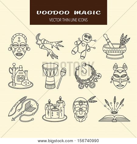 Voodoo African and American magic vector line icons. Voodoo doll, skull, chicken foot, necklace, poison, candles, drums, book a machete