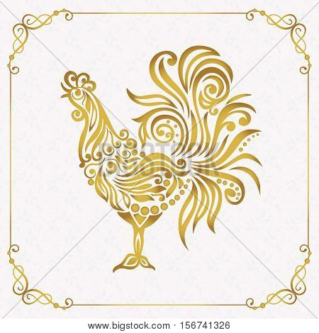Vector illustration for 2017 year with  rooster - chinese symbol of new year.. Golden Cockerel in gold frame.