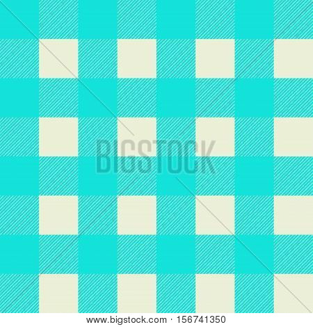 Vector tartan seamless pattern. Criss-crossed horizontal and vertical bands in light blue and cream beige colors.