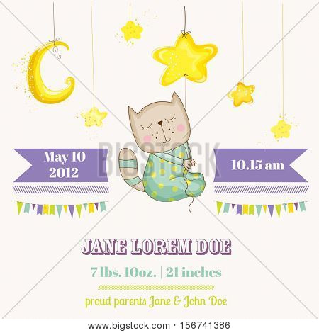 Baby Cat Sleeping on a Star - Baby Shower or Arrival Card - in vector