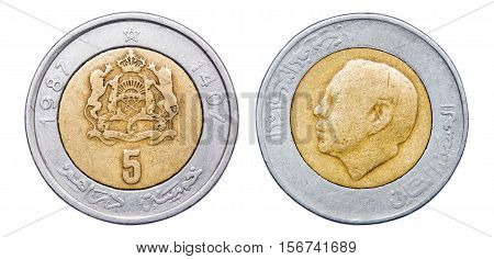Coin 5 dirham. Profile of King Hassan II. Morocco. year 1987