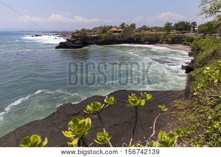 Seascape with Tanah Lot Temple in Bali, Indonesia