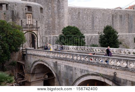 DUBROVNIK, CROATIA - DECEMBER 01: Pile Gate one of the entrance gates to the old walled city of Dubrovnik, Croatia on December 01, 2015.