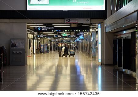 ZAGREB, CROATIA - MARCH 03: Interior of Pleso Airport main terminal building on March 03, 2016 in Zagreb, Croatia. It was built in 1966, occupies 5000 sq. meters and serves 2 million passengers a year
