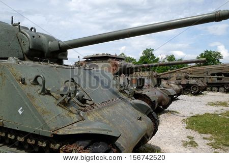 TURANJ, CROATIA - JUNE 11: Military tanks Open air museum of the Croatian War of Independence, 1991 - 1995, (Homeland War, Domovinski Rat), Turanj, Croatia on June 11, 2016