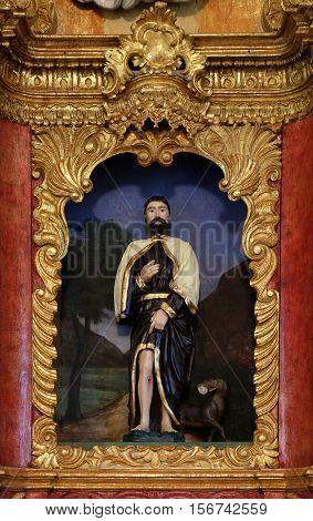 ZAGREB, CROATIA - MAY 16: Saint Roch on the main altar in chapel of Saint Roch, Croatia on May 16, 2016.